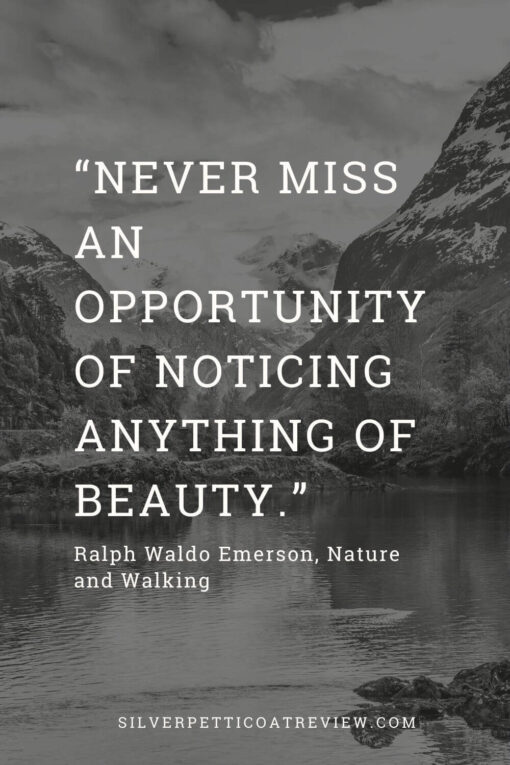 Emerson quote about nature and walking; inspirational walking quotes