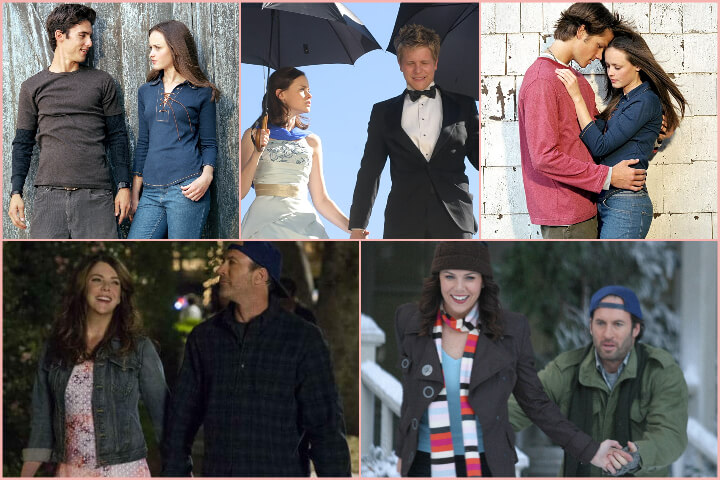Gilmore Girls collage; romantic tv shows to binge-watch