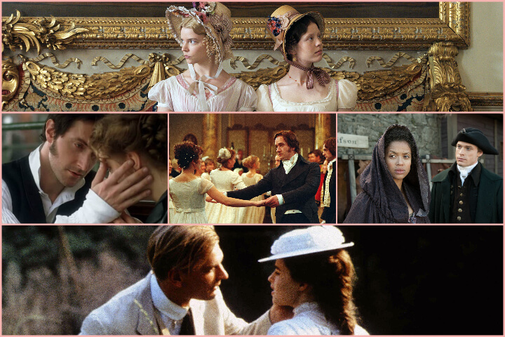 Romantic period dramas collage; romances to binge-watch