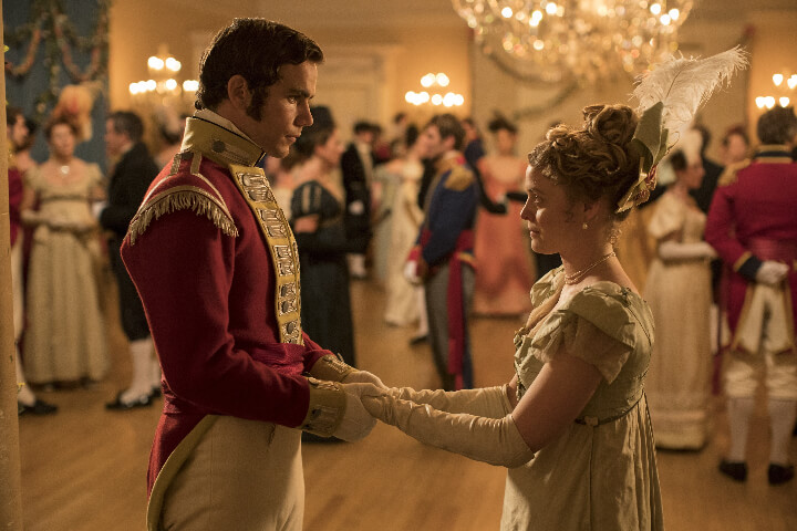 Emily Reid as Sophia Trenchard and Jeremy Neumark Jones as Lord Edmund Bellasis dance at the legendary ball: Belgravia Review