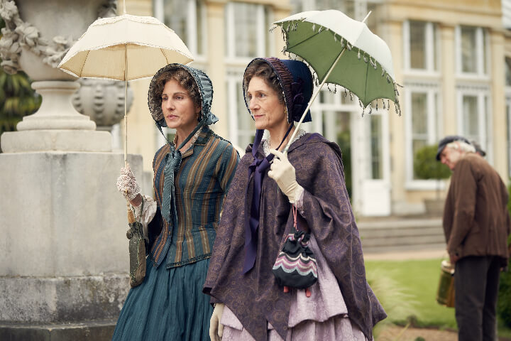 Tamsin Greig and Harriet Walter in Belgravia taking a walk together. From Belgravia review