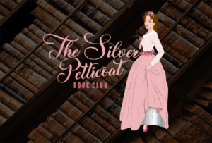 the silver petticoat book club logo with background of books