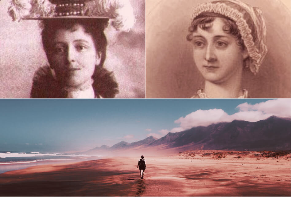 walking quotes featured image collage: Lucy maud montgomery, jane austen, and woman walking in photo