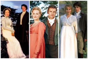 jane austen quotes: collage of three adaptations