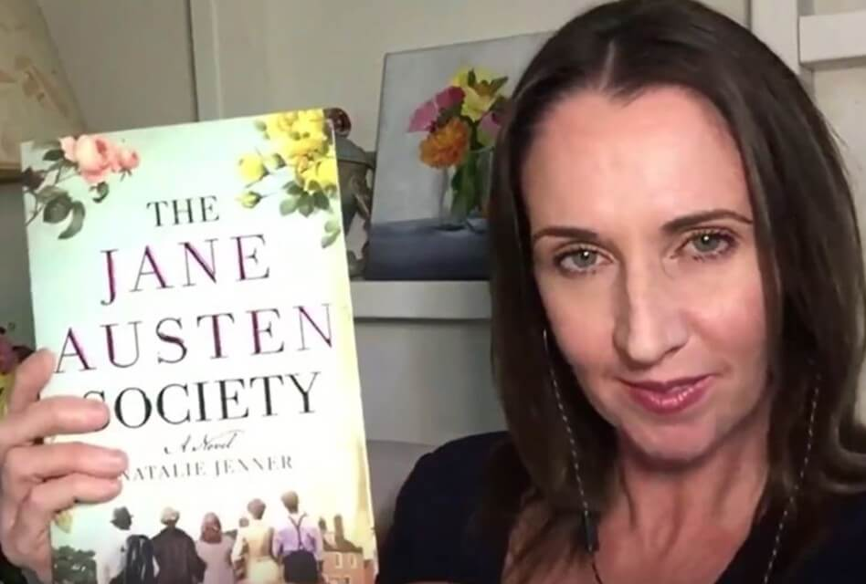 natalie jenner with silver petticoat book club reveal of the jane austen society