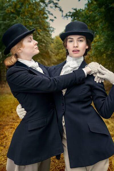 The Pursuit of Love promo photo; period dramas on amazon prime video