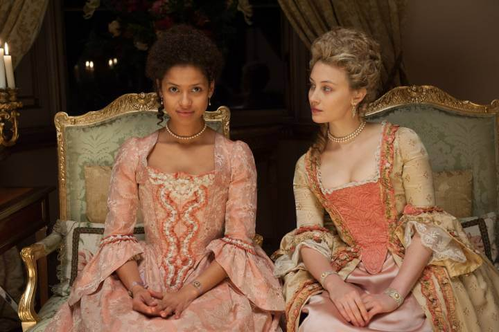 Belle 2013 promo image with Gugu Mbatha-Raw and Sarah Gadon
