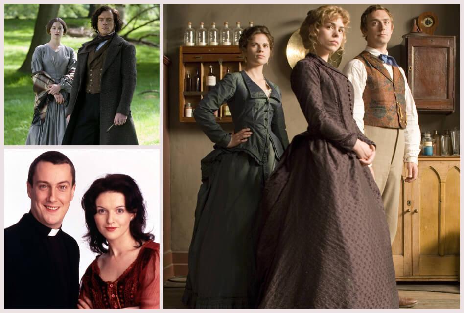 best britbox shows collage of Jane Eyre, Ballykissangel, The Sally Lockhart Mysteries