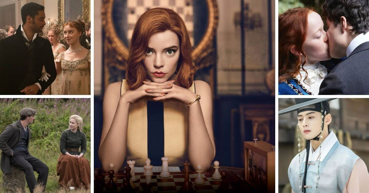 period dramas on netflix 2021 featured image; collage of period dramas with The Queen's Gambit in the center.