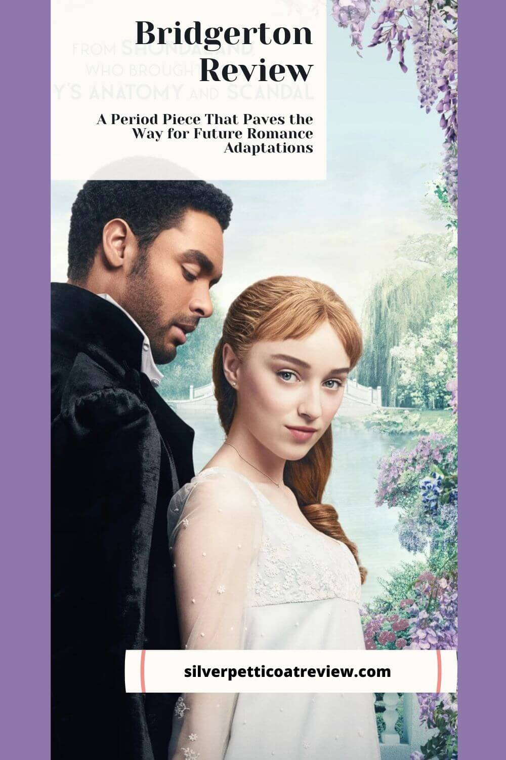 Bridgerton Review; pinterest image with Simon and Daphne