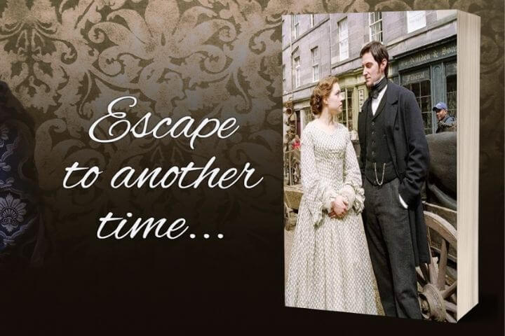 January 2021 Read is North and South. Escape to another Time. Promotional image on book of North and South adaptation.