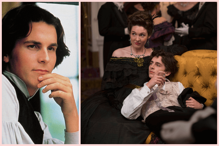 Christian Bale and Timothée Chalamet playing Laurie in different adaptations of Little Women by Louisa May Alcott