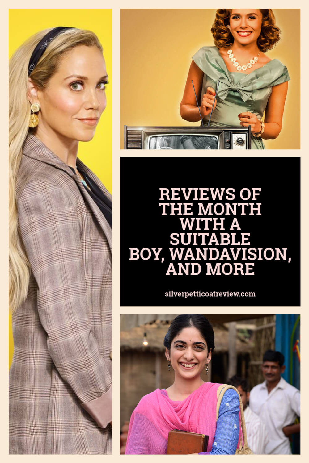Reviews of the Month collage with WandaVision, A Suitable Boy, and Saved by the Bell 2020; pinterest image