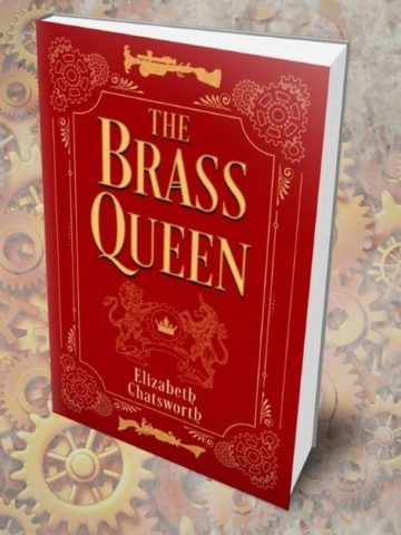 the brass queen book cover with steampunk background