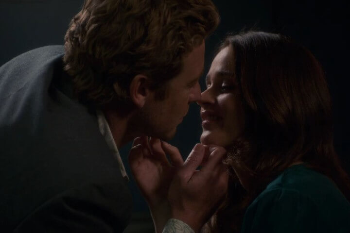 Jane and Lisbon smile at each other after kissing