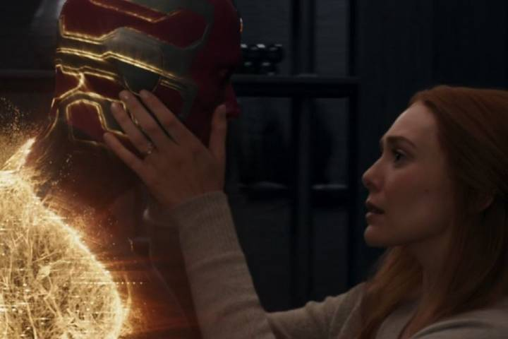 Wanda and Vision look at each other