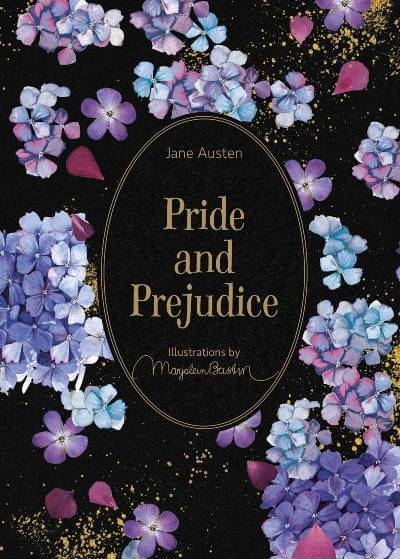 Pride and Prejudice book cover; book has illustrations; the April 2021 book club pick for The Silver Petticoat Book Club