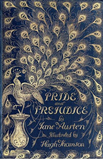 Pride and Prejudice book cover with peacock design; the April 2021 book club pick for The Silver Petticoat Book Club