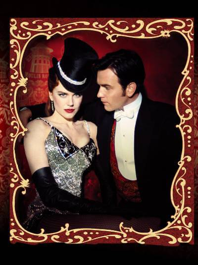 Moulin Rouge Promo Photo with Nicole Kidman and Ewan McGregor. The photo has an old-fashioned gilded frame.
