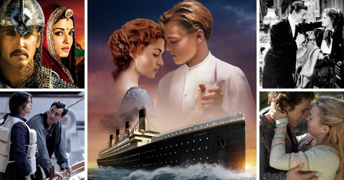 Movies Like Titanic featured image; collage of romance movies including Titanic, Jodhaa Akbar, San Francisco, and Tristan and Isolde