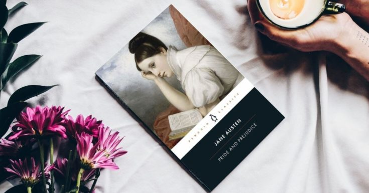 Pride and Prejudice book cover with flowers and a person's arm holding a coffee mug