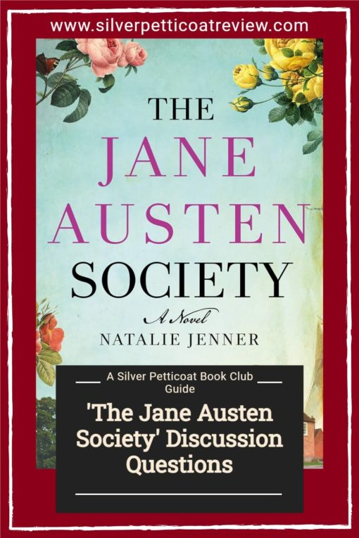 The Jane Austen Society Discussion Questions; pinterest image with book cover