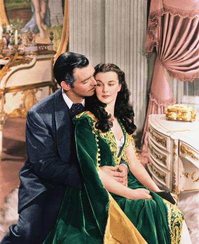 Gone With the Wind promo image with Clark Gable and Vivien Leigh.