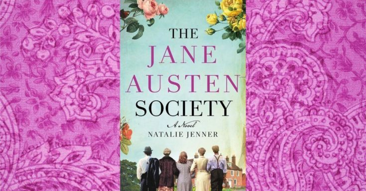 The Jane Austen Society book cover on a pink Victorian background