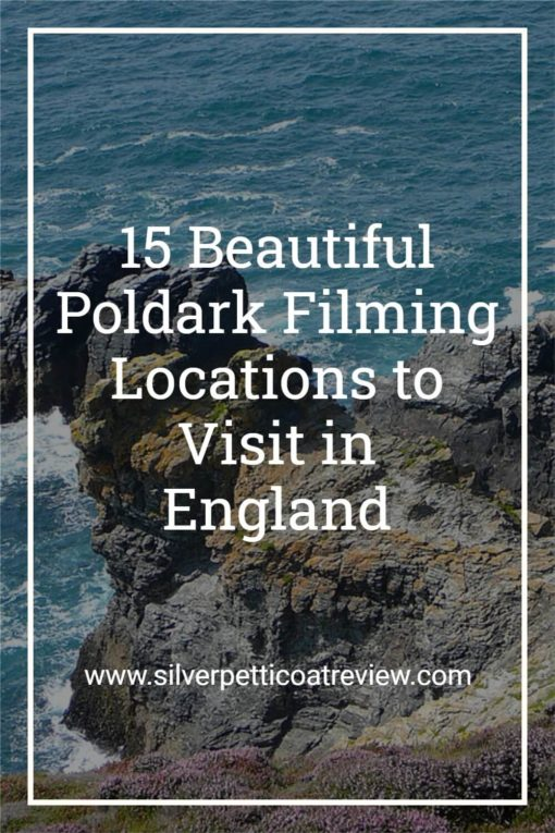 15 Beautiful Poldark Filming Locations to Visit in England; Pinterest image with Cornish coast in background