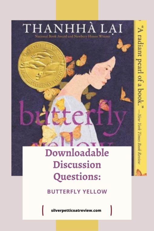 Butterfly yellow discussion questions pin; shows book cover