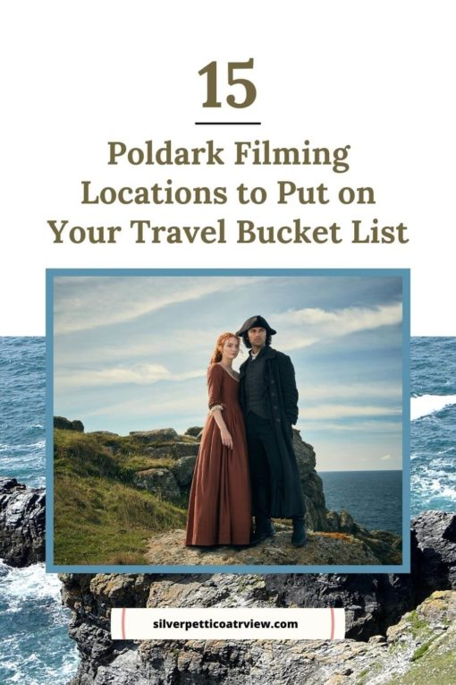 15 Poldark Filming Locations to Put on Your Bucket List; pinterest image with Poldark promo image and St. Agnes Head