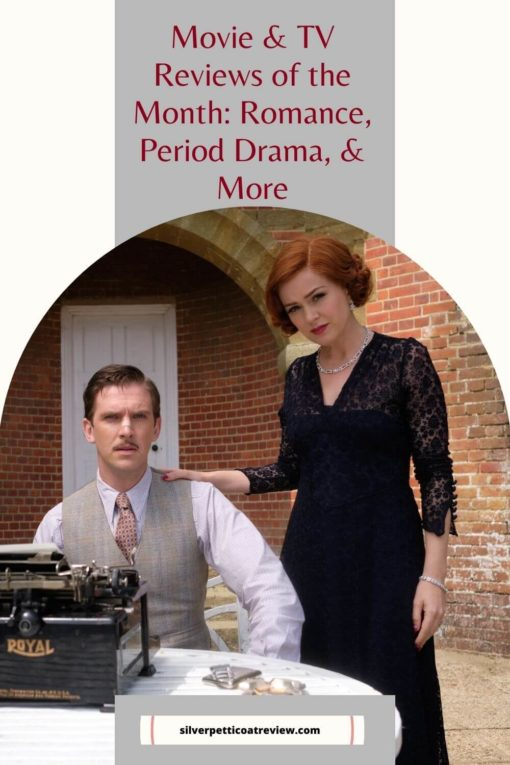 Movie & TV Reviews of the Month: Romance, Period Dramas, and more; pinterest image with Blithe Spirit