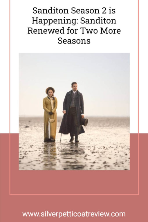 Sanditon Season 2 is Happening: Sanditon Renewed for Two More seasons. Pinterest image with publicity photo of Sidney and Charlotte on the beach.