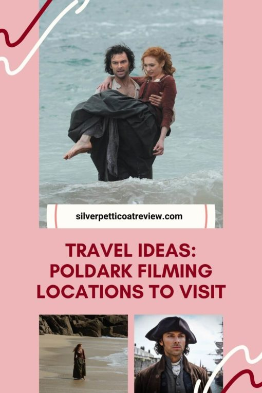 Travel Ideas: Poldark Filming Locations to Visit; Pinterest image with publicity stills from Poldark.