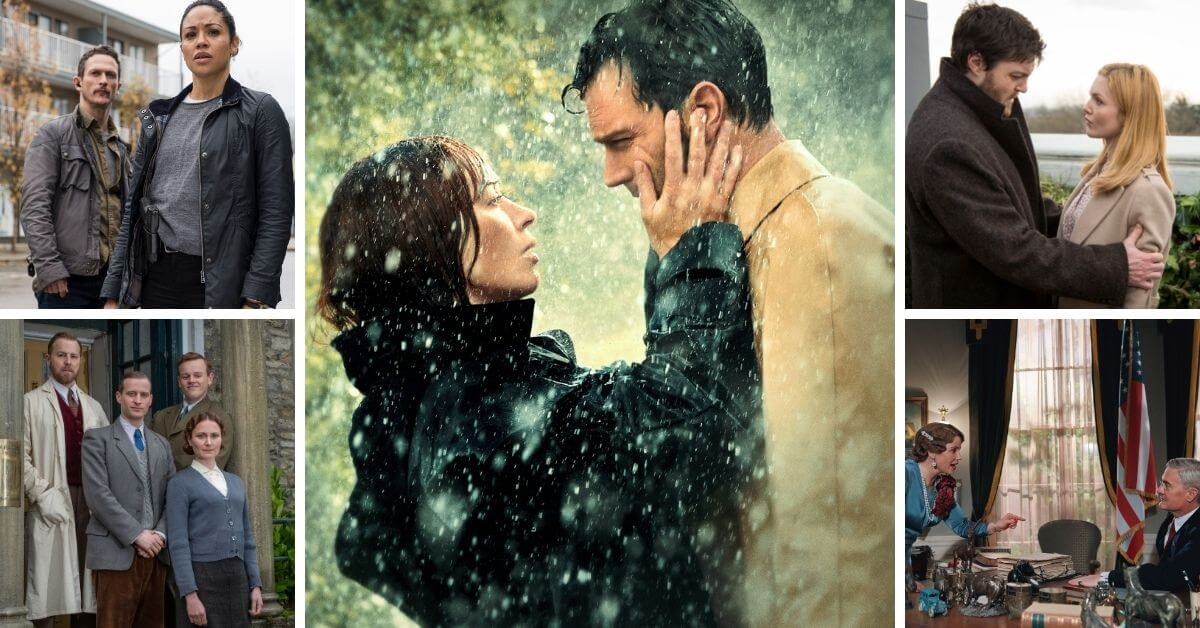 Wild Mountain Thyme publicity still with Emily Blunt and Jamie Dornan in the rain