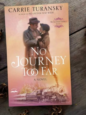 No Journey Too Far Featured image with book cover and vintage background