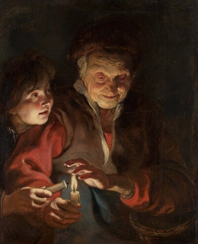 Peter Paul Rubens painting Old Woman and Boy with Candles
