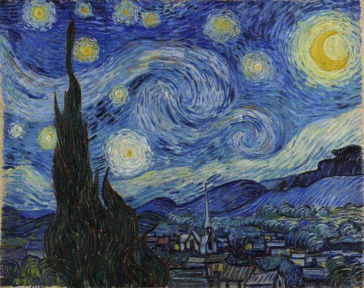 Van Gogh's Starry Night painting in an article discussing how Dutch Artists inspired the author Lynn Austin when writing Chasing Shadows.