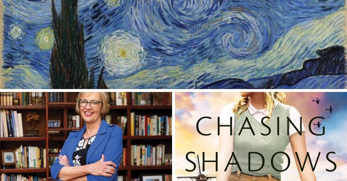 Featured image including Van Gogh's Starry Night, Author Lynn Austin photo, and book cover of Chasing Shadows.