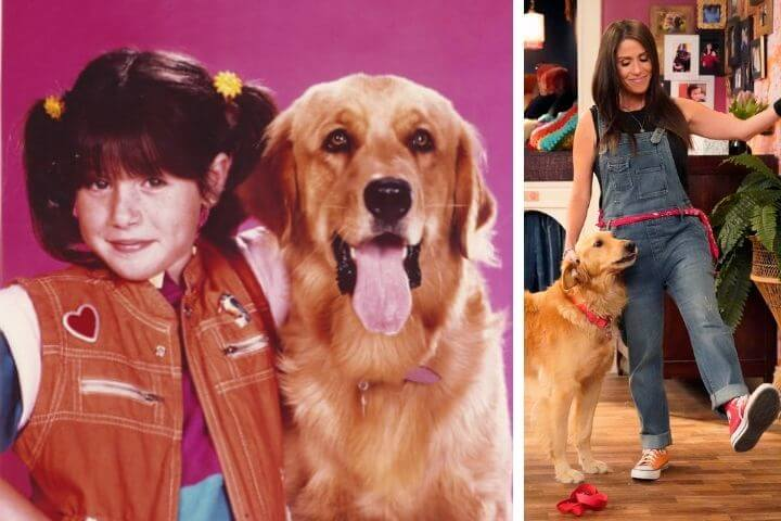 Punky Brewster publicity photos with golden retrievers from old and new revival series