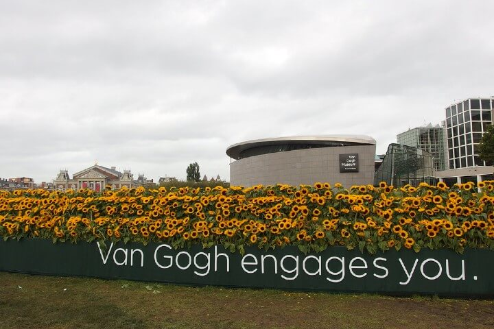 Picture of Van Gogh Museum with sunflowers in front