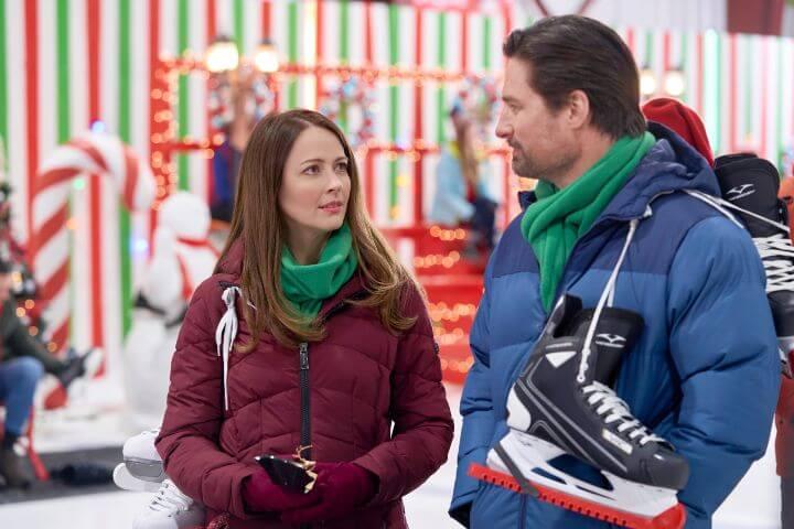 Hallmark's Crashing Through the Snow promotional photo with Amy Acker