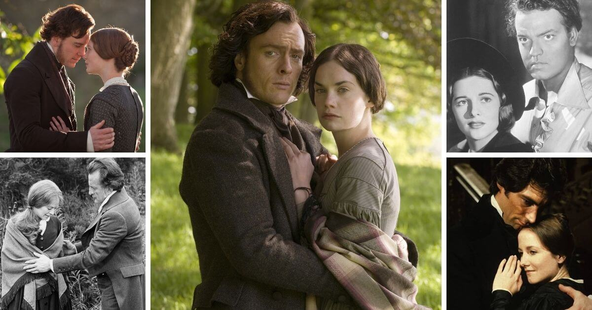 jane eyre movies and adaptations featured image; montage of adaptations