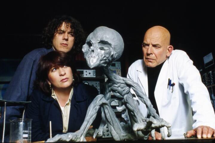 Alan Davies (Jonathan Creek), Caroline Quentin (Maddie Magellan), and John Shrapnel (Prof. Lance Graumann)