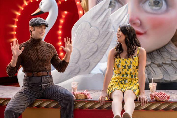 Aaron Tveit and Cecily Strong in episode two.