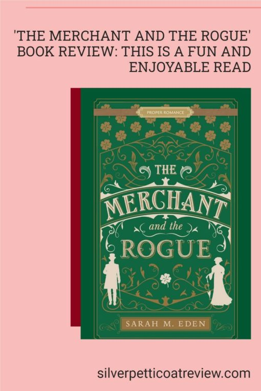 The Merchant and the Rogue Book Review; pinterest image with pink background