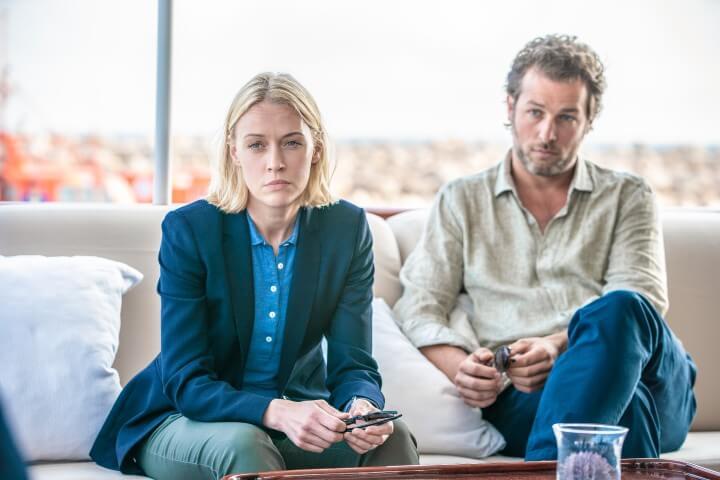 Elen Rhys (Miranda Blake) and Julian Looman (Max Winter) in The Mallorca Files