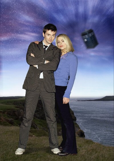 Doctor Who the Doctor and Rose promo photo with Tardis in the background